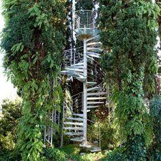 Un escalier en aluminium dans les arbres