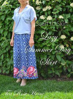 Scarf to Skirt ~ Lazy Summer Day Skirt by @Sachiko Asai Asai Aldous on BrassyApple.com #sew #sewing #refashion