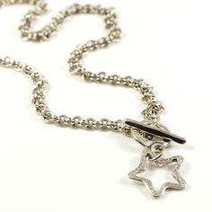Brand New Danon Silver Star Double Links Chain Necklace with T-bar front fastener.