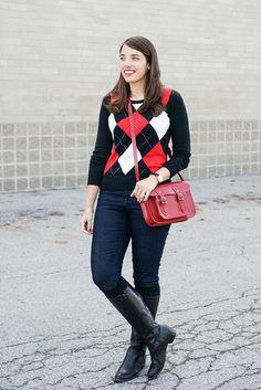 Red, black and white Argyle