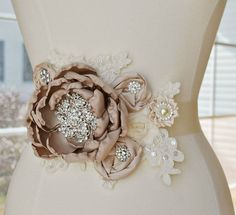 Taupe Blush and Ivory Bridal Sash - Vintage Lace Flower Bridal Wedding Belt - READY TO SHIP