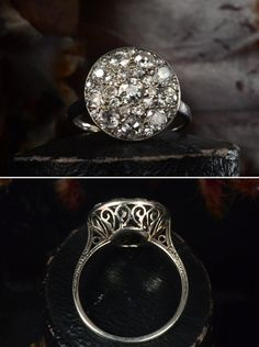 Early 1900s French Platinum Filigree Cluster Ring, ~1.50ctw European Cut Diamonds by rosiete
