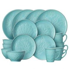 Crafted of stoneware. 16 piece dinnerware set, service for four, includes each: 11 inch dinner plate, inch salad plate, 8 inch ounce) soup cereal bowl and 12 ounce mug. Blue Dinnerware Sets, Melamine Dinnerware Sets, Tableware, Flatware Set, Cutlery, Ceramic Plates, Serveware, Coastal Farmhouse, Kitchen