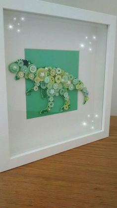 Embellished t-rex dinosaur button art picture in box frame