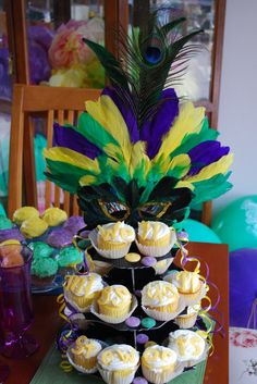 Mardi Gras cupcake display