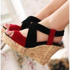 Women's Shoes Wedge High Heel Pumps Sandals Genuine Leather Summer Footwear