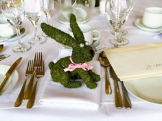 Mossed Bunny, with a ribbon, for a Country Wedding