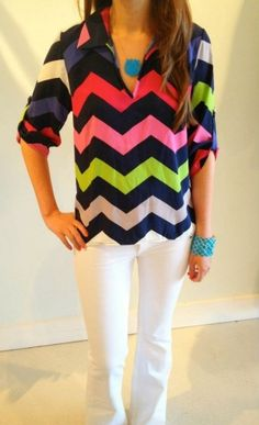 Love this colorful chevron pattern! Such a change than that two way colors.
