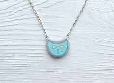FREE SHIPPING Handpainted Cat pendant Cat necklace by MagicTwirl, $25.00