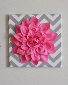 """Pink Wall Flower -Bright Pink Dahlia on Gray and White Chevron 12 x12"""" Canvas Wall Art- Baby Nursery Wall Decor-"""