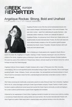 May 2012 Greek Reporter Interview Angelique Rockas 1 Plate Tectonics, Olympics, Greek, Interview, Strong, Celebrities, Greek Language, Celebs, Foreign Celebrities