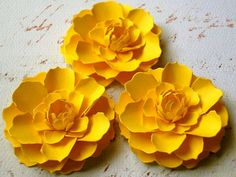 The Marigold Paper Flowers Canary Yellow by DragonflyExpression