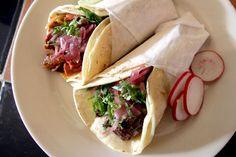 Tacos al pastor from Mesa Azteca.