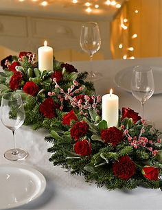 Double Christmas Table Arrangement Flowers