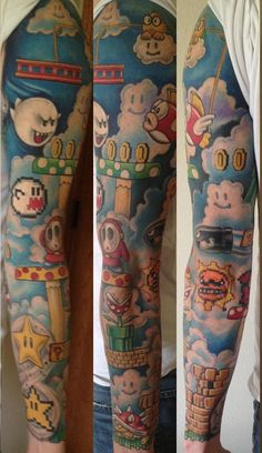 Super Mario sleeve by Jarrett Spaeth - Gamer House Ideas 2019 - 2020 Gamer Tattoos, Retro Tattoos, Anime Tattoos, Badass Tattoos, Body Art Tattoos, Forearm Sleeve Tattoos, Small Tattoos, Tattoo Mario Bros, Super Mario Tattoo
