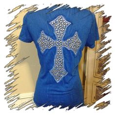 """ROYAL BLUE VELVET STONE TOP Excellent condition-V neck plain front with an amazing cross done in various sizes of round silver studs and clear stones. Approximate measurements: underarm to underarm 17 1/2"""" and 30"""" in length. Has great stretch at 100% cotton.--OFFERS WELCOMED Velvet Stone Tops"""