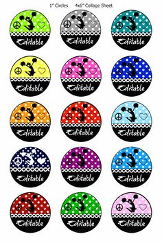 """FFB176 INSTANT DOWNLOAD Editable Cheer Digital Bottle Cap image cheerleader  hairbow one inch circles 1"""" circle cheerleading squad cheer gym"""