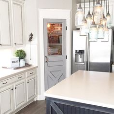 Pantry Door Makeover @ourfauxfarmhouse Farmhouse Kitchen Mason Jar Lighting