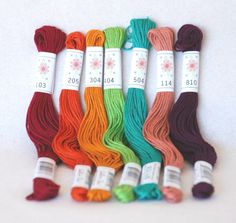 Embroidery Floss Parlour Pallete  7 Skeins Pack  by CraftyWoolFelt