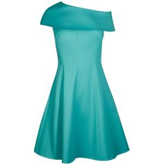 Karen Millen Fold Detail Skater Dress ($99) ❤ liked on Polyvore featuring dresses, sale women dresses, blue vintage dress, blue slip, blue off shoulder dress, blue dress and vintage slip