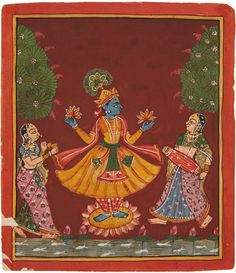 A Rajasthani painting of a dancing Krishna on a lotus above a pond and two female musicians. Ink and colours on paper