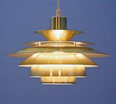 For sale: Danish pendant in brass by Jeka, Danish, Vintage Designs, 1970s, Brass, Ceiling Lights, Lighting, Pendant, Home Decor, Ceiling Light Fixtures