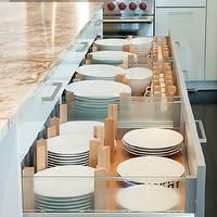 Divine Kitchens - kitchens - peg and board drawer divider, pegboard drawer divider, peg and board drawer organizer, pegboard drawer organizer, contemporary white kitchen, granite counters, granite countertops, stainless steel oven, stainless steel backsplash, kitchen island, dark hardwood floors, hardwood floors, brushed nickel hardware, drawer storage, drawer dividers, drawer organization, plate storage, bowl storage, cup storage, kitchen drawer organizers,