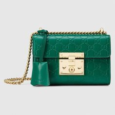 Gucci Padlock Signature Shoulder Bag In Emerald Signature Gucci Shoulder Bag, Chain Shoulder Bag, Shoulder Handbags, Leather Shoulder Bag, Shoulder Bags, Gucci Purses, Gucci Handbags, Gucci Bags, Coach Handbags