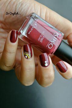 Manucure ongles, Nail art , Du rouge foncé et du jaune, ultra facile avec