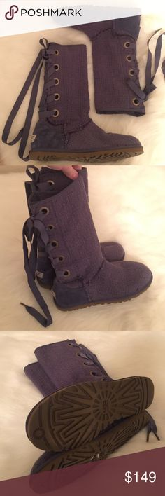 NEW!! UGGS 🎀 LACE UP CORSET KNIT BOOTS 1000693, 9 Heirloom style boots!  Appear in new condition without tags or box!  Size 9 Women's (40).  Gorgeous dark lavender lace-up textile boots.  Unique!  POPULAR UGG BRAND!  Awesome gift idea! 💗💗💗 AXA10 UGG Shoes Winter & Rain Boots