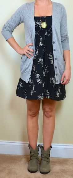 Outfit Posts: outfit post: navy floral dress, grey boyfriend cardigan, brown ankle boots
