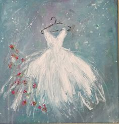 Tutu Painting Shabby Chic Original Acrylic by SophiesPorch on Etsy Pictures To Paint, Art Pictures, Painting & Drawing, Watercolor Paintings, Dress Painting, Easy Paintings, Learn To Paint, Acrylic Art, Painting Techniques
