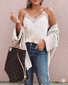 Innovative fabric combinations are set to instantly level up your style game. Pair a white lace top with a cozy cardigan and some jeans to recreate that cool, deconstructed feel and accessorize accordingly.