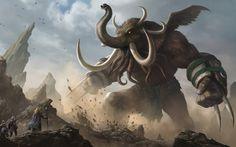 """Heroes of Newerth-Woolly Cthulhuphant"" by Yin Yuming (yinyuming) | #Fantasy #Elephant #Creature"