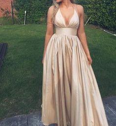 Charming Prom Dress,Satin Prom Dress,Halter Prom Dress,A-Line Prom Dress P668