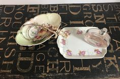 Two Porcelain Dishes, Fruits & Flowers, Dresser Organization, vanity decor, transferware, shabby chic, boho, Bohemian Decor, Victorian decor by TheDustyWingVintage on Etsy