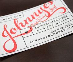 Business card for Johnnye's East Texas Soul food trailer