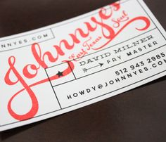 Business card for Johnnye's East Texas Soul food trailer