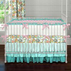Teal Ombre Flower Garden Crib Bedding