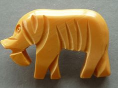 Vintage Cream Bakelite Carved elephant Sewing Button