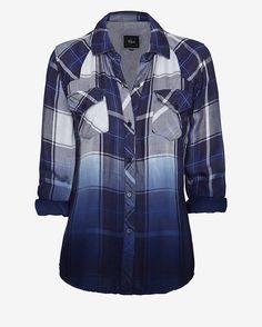 Rails EXCLUSIVE Ombre Plaid Shirt: Blue