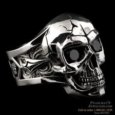 NightRider Silver Skull ring with black onyx eyes from Pearlmans Jewelers #Skullrings