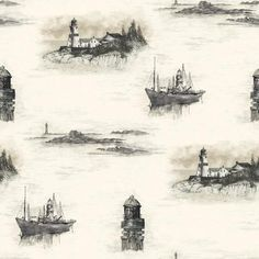 Lighthouse Wallpaper - BC1580740 from Design by Color/Black and White book