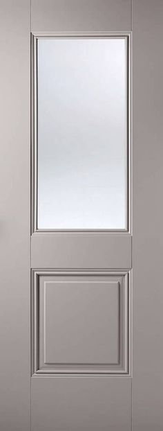 A large, clear glazed panel sits proudly above a solid panel both surrounded by decorative beading. Face Type Primed Plus Silk Grey Door Style Arnhem Internal Grey Glazing 1 Light Clear Internal Doors, Fire Doors, Grey Doors, Contemporary Living, Panel Design, Light, Elegant Doors, Doors, Door Color