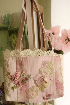https://flic.kr/p/81SLb8 | rosegarden | Tote to hold stuff. Dyed lace motif and embroidery.
