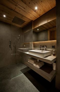 <3 Modern Full Bathroom with Travertine counters, three quarter bath, Handheld showerhead, Simple marble counters, Cement floor