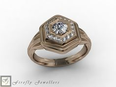 Diamond engagement ring made of rose gold. (Source: www.fireflyjewel.co.za) Rose Gold Engagement, Diamonds, Wedding Rings, Pink, Vintage, Jewelry, Jewlery, Bijoux, Schmuck