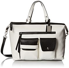 Nine West Pop Pocket Satchel Top Handle Bag, Snow Petal/Black, One Size *** To view further for this item, visit the image link.