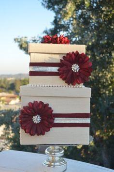 Red and Ivory Card box The Priya Ivory Dupioni silk box by ForeverLoveNotes, $92.80