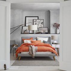 Love this color scheme! Crinkle Duvet Cover + Shams - Peach Rose | West Elm